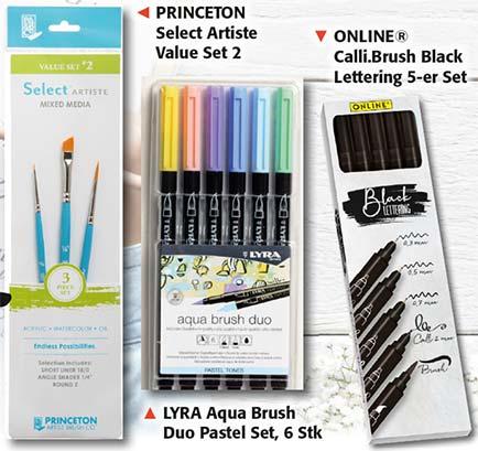 2 Prämien. PRINCETON Select Artiste Value Set 2 und LYRA Aqua Brush Duo Pastel 6 Stk.